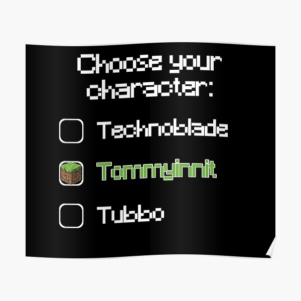 Choose your character - Tommyinnit Poster RB2805 product Offical TommyInnit Merch